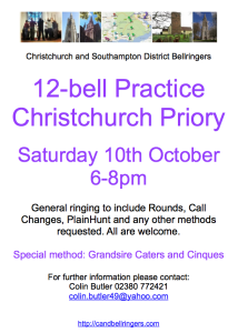 C&S District 12 bell practice – 10th October 2015 at Christchurch Priory