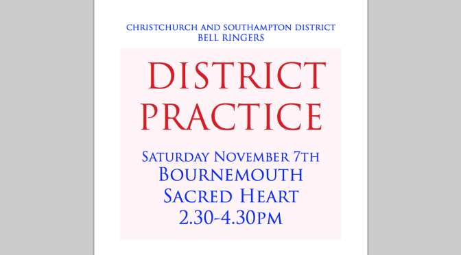 District Practice Saturday November 7th Sacred Heart 2.30pm