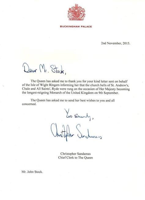 Letter to Ryde Ringers from the Queen Nov 2015