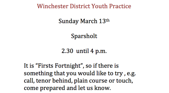 Winchester District Youth Practice Sunday March 13th