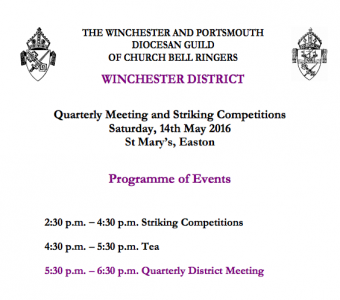 Winchester District Quarterly Meeting 14th May