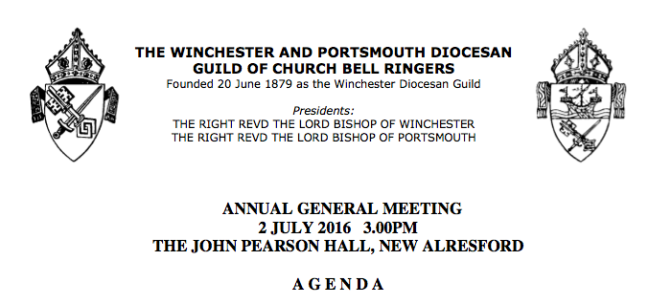 Agenda for the 2016 Winchester and Portsmouth Guild Annual General Meeting