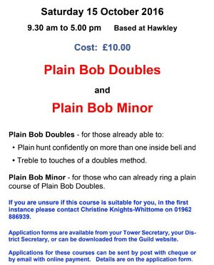 Places Available- Guild Education Course – Plain Bob Doubles and Minor Oct 15th