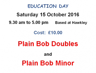 Saturday Course – Plain Bob Doubles and Plain Bob Minor – 15th October at Hawkley