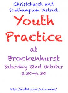 CS District Youth Practice Oct 22nd at Brockenhurst 5.30-6.30
