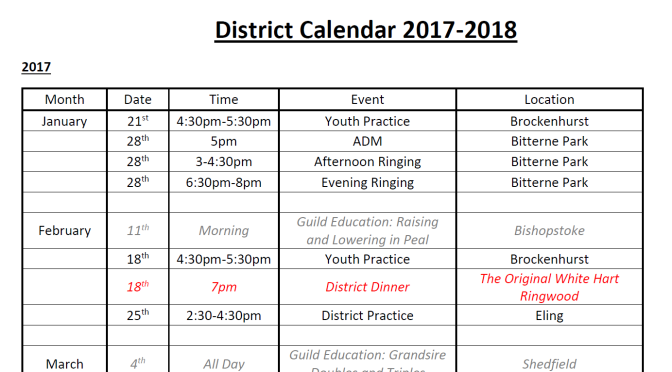 Provisional 2017 C&S District Calendar