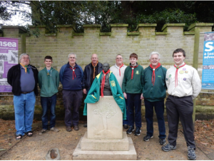 The band in order from left to right, with the bust of Scouting's Founder, Robert Baden-Powell