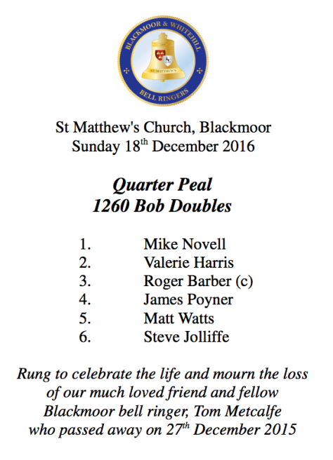 St Matthew's Church, Blackmoor Sunday 18th December 2016 Quarter Peal 1260 Bob Doubles 1. Mike Novell 2. Valerie Harris 3. Roger Barber (c) 4. James Poyner 5. Matt Watts 6. Steve Jolliffe Rung to celebrate the life and mourn the loss of our much loved friend and fellow Blackmoor bell ringer, Tom Metcalfe who passed away on 27th December 2015