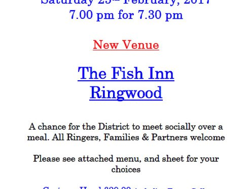 Annual CS District Dinner Saturday 25th of February