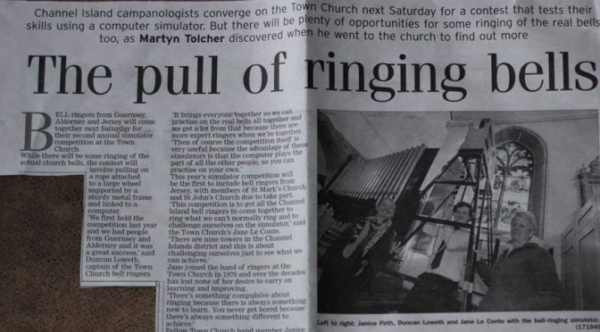 Town Church Guernsey annual simulator competition publicised by local paper