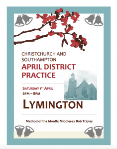 CS District Practice 6pm April 1st at Lymington – Special Method is Middlesex Triples