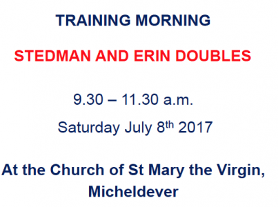 Winchester District Stedman/Erin doubles Training, Saturday 8th July a.m.