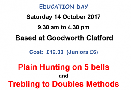 **Places Filling Fast** Education Day Plain Hunt and Trebling 14th Oct