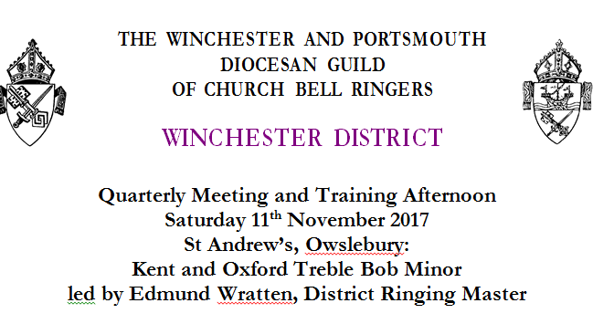 **Updated** – Winchester District Quarterly Meeting and Training Afternoon Sat 11th Nov – Owslebury