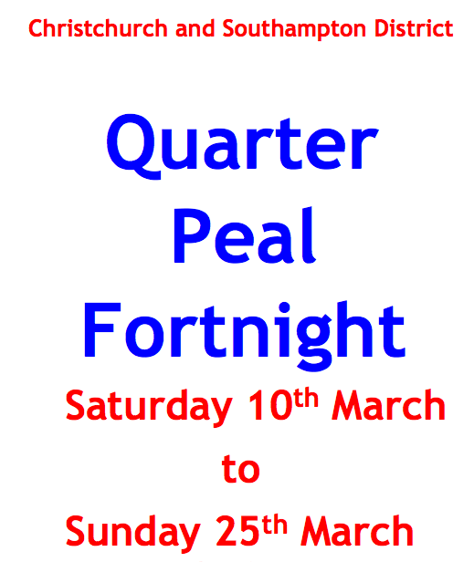 CS District Quarter Peal Fortnight 10th-25th March