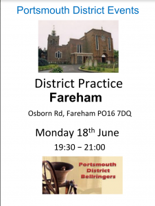 Portsmouth District Practice Monday 18th June at Fareham, 7.30pm
