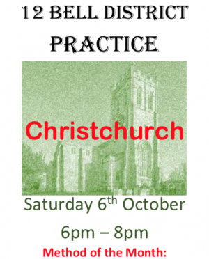 C&S District 12 Bell Practice Saturday 6th October 2018 Christchurch Priory 6-8pm