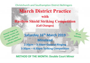 March District Practice with Striking Competition at Minstead. 2:30pm onwards Sat 16th March 2019