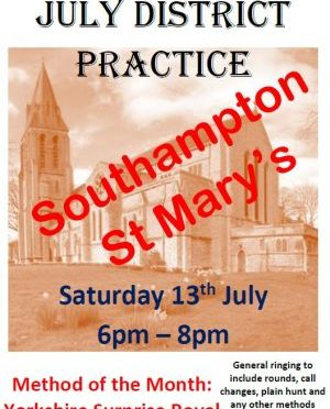 C&S District Practice: St. Mary's, Southampton Saturday 13th July 2019 from 6:00pm until 8:00pm