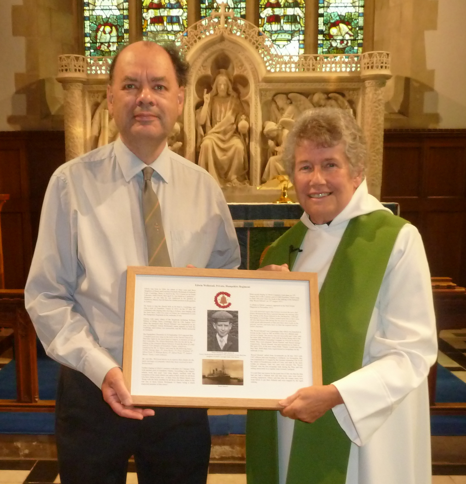 Curdridge - Edwin Wellstead memorial dedication - Robin Milford and Rev Jane Richards