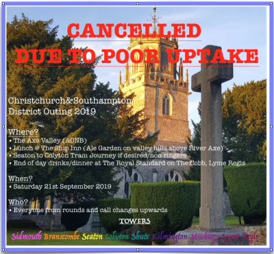 CANCELLED: C&S District Annual Trip Saturday 21st September 2019 to Axe Valley CANCELLED
