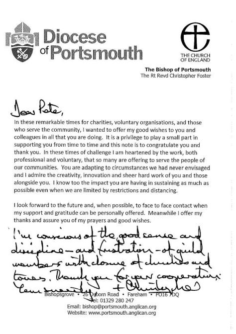 Guild Letter from Bishop Christopher for Pete and members May 2020